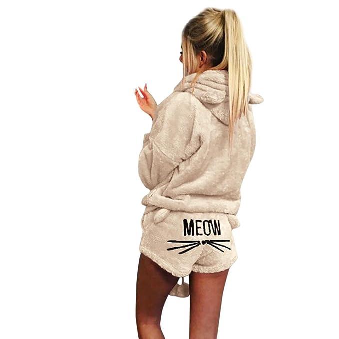 Sunfei Women s Winter Fleece Pajamas Suit Cute Meow Long Sleeve Hooded  Sleepwear Set Shorts Two Piece 871868d67
