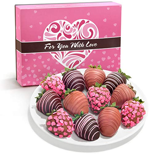 Chocolate Covered Strawberries in Valentine's Day Gift Box