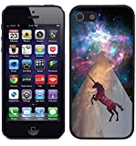 [TeleSkins] - Unicorn Galaxy Space - iPhone SE / 5 / 5S Black Plastic Case - Ultra Durable Slim & HARD PLASTIC Protective Vibrant Snap On Designer Back Case / Cover for Girls [Fits iPhone SE / 5 / 5S]