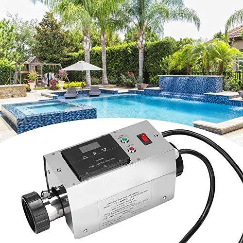Pbzydu Termostato de Calentador de Piscina de 3KW, termostato de Calentador de Agua a Prueba de Agua Digital Inteligente de Acero Inoxidable para banera de hidromasaje(UE)