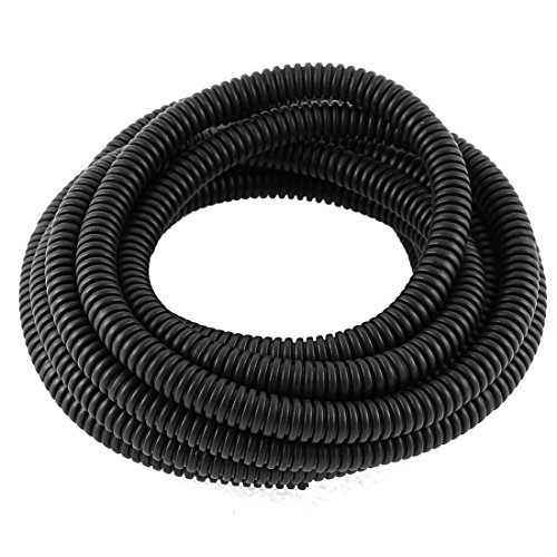 YXQ 100M Length 17mm ID Corrugated Tubing Bellows Pipe Preservative Flexible Electric Conduit Liquid NON-Split Tube Cable Cover Sleeve Wire Loom Black PE(21.2mm OD)