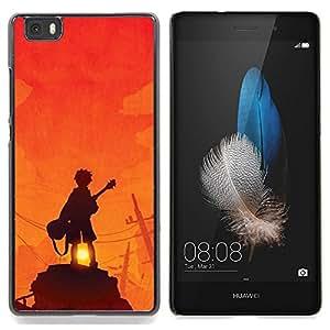 - Guy Guitar Player Sunset Rock Orange - - Monedero pared Design Premium cuero del tir???¡¯???€????€???????????&