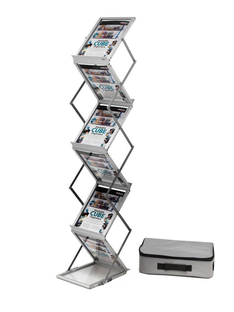 Deflecto Présentoir sur pied pliable aluminium avec mallette de transport 6 niveaux pour A4