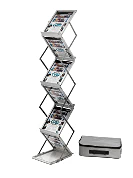 Deflecto - Expositor plegable (aluminio, con maleta de transporte, 6 niveles, A4): Amazon.es: Oficina y papelería