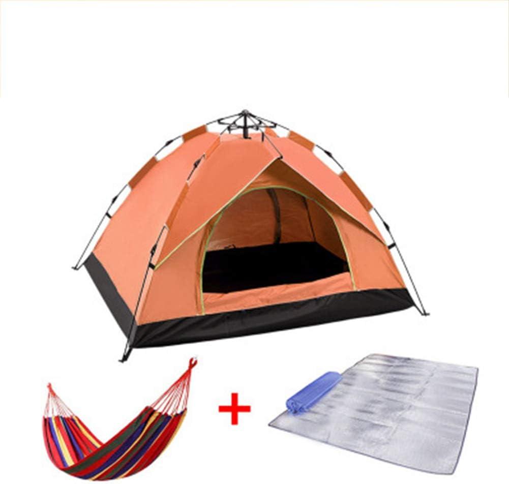 WZP-Fastpitch Pop-up tent 3-4 man werptent, campingtent 3/4 personen, festivaltent, waterdicht voor trekking, outdoor, festival, camping, rugzak oranje