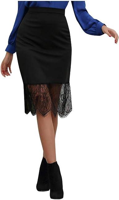 beautyjourney Falda de Encaje Elegante para Mujer Falda de Ajuste ...