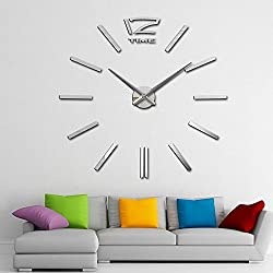CNlinkco Digital DIY Wall Clock Modern Art Acrylic 3D Mirror Sticker Home Office Decor (Type2 Silver)