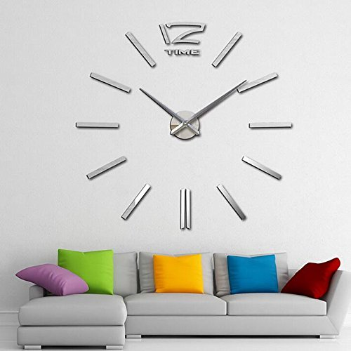 CNlinkco Digital DIY Wall Clock Modern Art Acrylic 3D Mirror Sticker Home Office Decor (Type2 Silver)