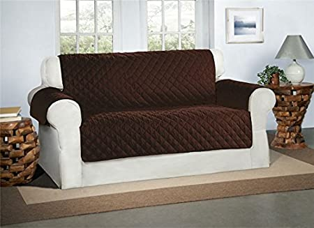 Safari Homeware Cubre Chocolate/Marrón para Sofás de 2 Plazas - Protector para Sofás Muebles Acolchado