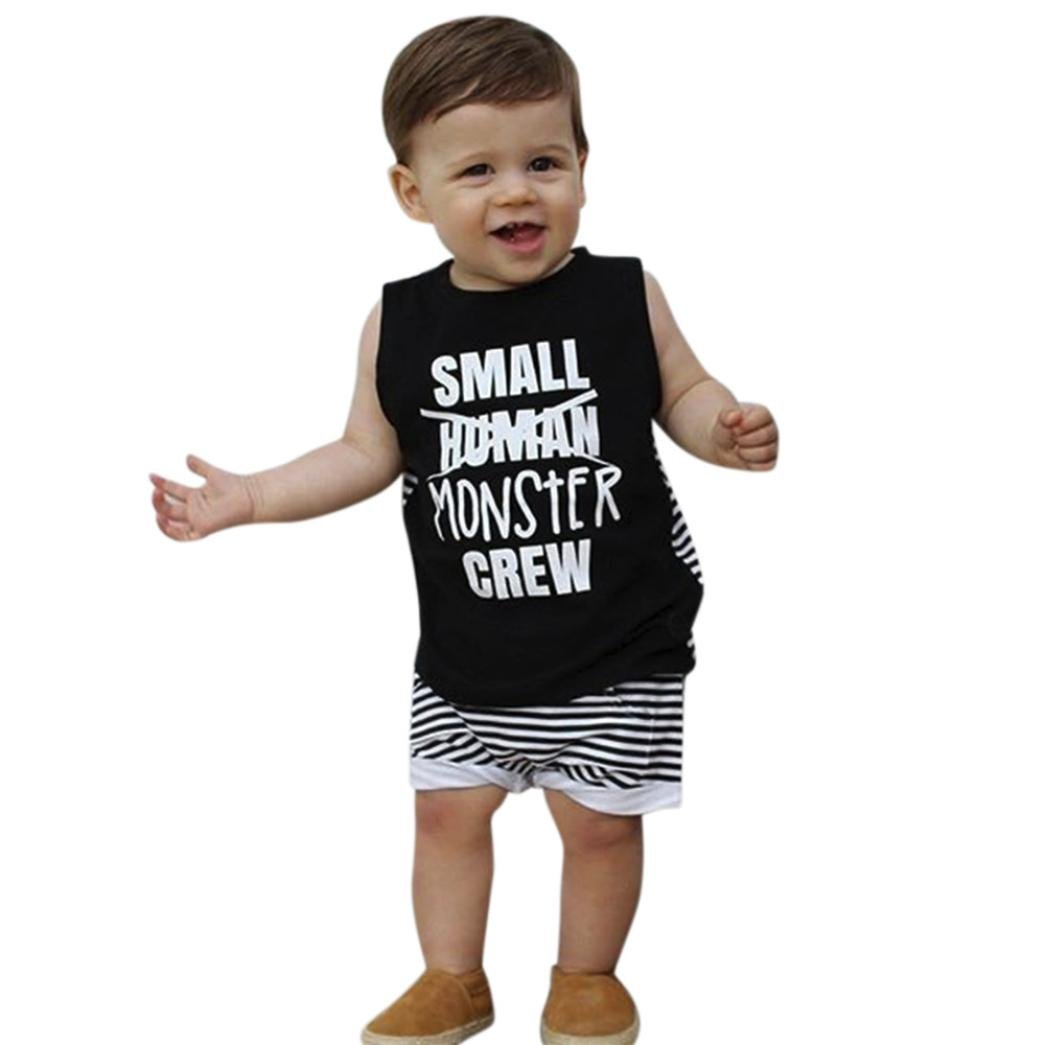 aabf556e7 Amazon.com  DIGOOD Toddler Baby Boys Letter Print Vest+Short Striped ...