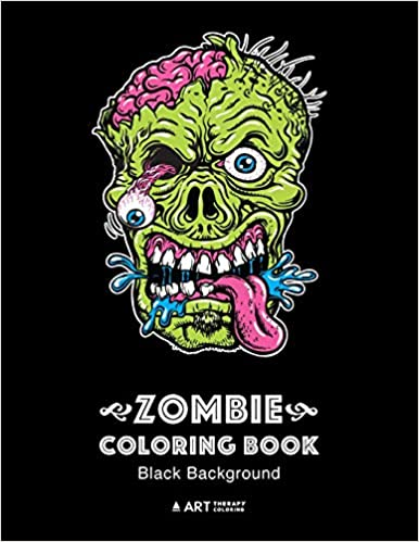 Amazon Com Zombie Coloring Book Black Background Midnight Edition