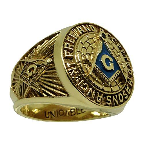 UNIQABLE Amazing 10K Havy Solid Yellow Gold Masonic Freemason Mans Ring Size KTR010Y10 (14) 10k Yellow Gold Masonic Ring