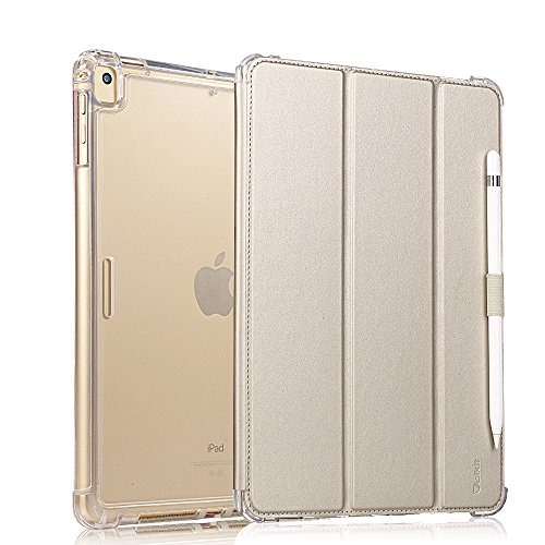 (Valkit iPad Pro 12.9 Case 2017/2015 (Old Model,1st & 2nd Gen) - iPad Pro 12.9 Inch Cover Smart Folio Stand Protective Heavy Duty Rugged Armor Cases with Auto Wake/Sleep & Pencil Holder, Champagne Gold)