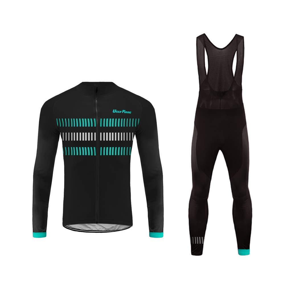 Uglyfrog Inverno Fleece Abbigliamento Ciclismo Set Abbigliamento sportivo per Bicicletta Maglia Manica Lunga+Pantaloni Lunghi Body