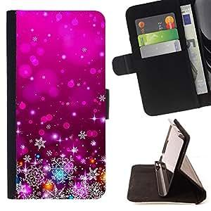 """For Sony Xperia M5 E5603 E5606 E5653,S-type Púrpura de Navidad Navidad Decoración Luces"""" - Dibujo PU billetera de cuero Funda Case Caso de la piel de la bolsa protectora"""