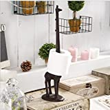 KiaoTime Vintage Rustic Cast Iron Giraffe Paper Towel Holder