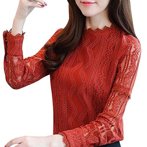 Elegante Pullover A Casual Maniche Pizzo Ufficio Camicie Donna Shirt Camicette Arancione T ABCone Felpa Tops Righe Floreali Autunno Lunghe 4q75Rwxan