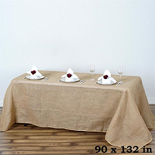 BalsaCircle 90-Inch x 132-Inch Natural Brown Burlap Jute Rustic Rectangle Tablecloth Country Chic Wedding Party Home Table Linens ()