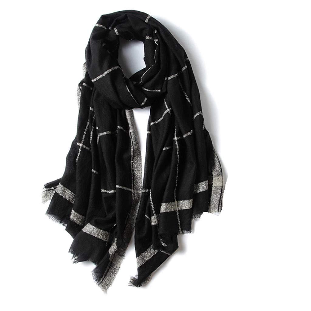 Black Goquik Super Soft Spring and Autumn Winter Black Plaid Scarf Ladies Shawl Warm Long Scarf Wild (color   Black)