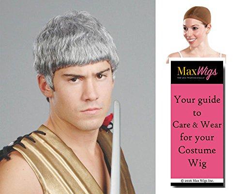 Ceasar Gladiator Color Grey - Enigma Wigs Men's Roman Greek Warrior Soldier Emperor Bundle with Wig Cap, MaxWigs Costume Wig Care Guide -