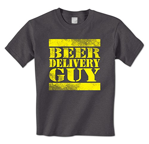 Beer Delivery Guy - Distressed Drinking Funny Drunk Mens T-Shirt Medium Charcoal (Guy Delivery T-shirt Beer)