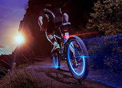 Pack 2 piezas luces LED fluorescentes para ruedas de coches motos y bicicleta - Azul oscuro