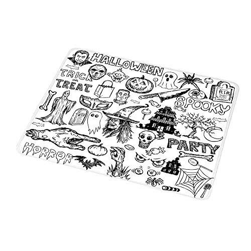 Art Mousepad Vintage Halloween,Hand Drawn Halloween Doodle Trick
