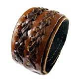 D'SHARK 1.8'' Wide Luxury Double Braided Biker Leather Bangle Cuff Bracelet Wristband for Unisex - (Brown)