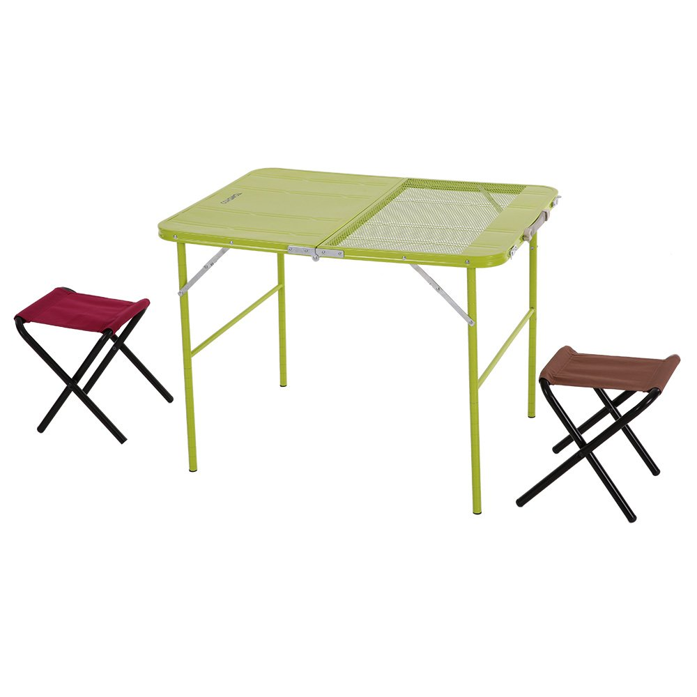 TOMSHOO Portable Folding Camping Table Chair Set Lightweight Outdoor Metal Table Cloth Stools with Carrying Box