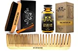 Facial Hair Ideas - BEARDEUR Premium Master Beard Kit, Boar Bristle Brush, Beard Comb, Small Mustache Comb, Conditioner Oil for Facial Hair, Perfect Grooming Kit - Great Gift Idea For Every Man