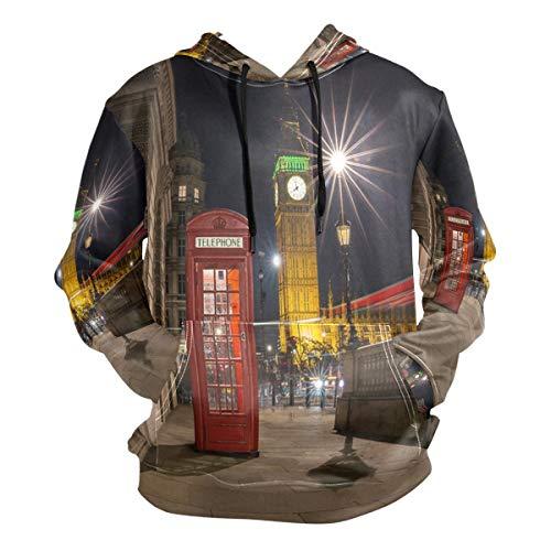 (London Red Phone Box Big Ben Street Scene Night Hoodie 3D Pullover Hooded Long Sleeve Workout Sweatshirts)