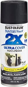 Painter's Touch 2X 12 Oz Black Flat Cover Spray Paint [Set of 6]