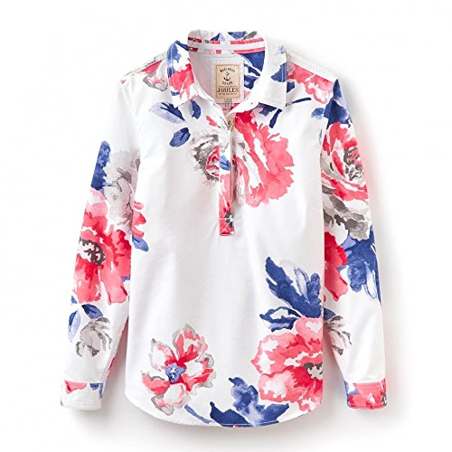 Joules Ladies Clovelly Relaxed Fit Mariners Grade Cotton Deck Shirt Bright White Rose