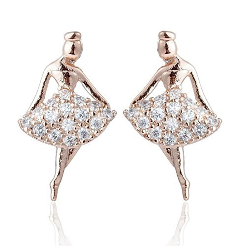 Rose-Gold Earrings, Zircon, Ballerina, Stainless - Ballerina Gold Ring