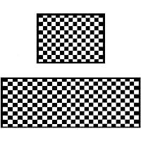 "Easychan 2 Piece Carpet Rubber Backing Non-Slip Kitchen Mat Doormat Area Rugs (15""x23""+15""x47"", Black Mosaic)"