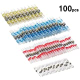 100pcs Solder Seal Wire Connectors, Sopoby Heat Shrink Butt Connectors, Waterproof Marine Automotive Electrical Terminals Insulated (35Red 30Blue 25White 10Yellow)