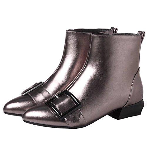 AIYOUMEI Damen Spitz Zehen Flach Stiefeletten mit Schnalle und 3cm Absatz Bequem Herbst Winter Stiefel Silber Grau
