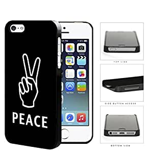 Hippie Fingers Peace Symbol In White Outline Hard Plastic Snap On Cell Phone Case Apple iPhone 5 5s