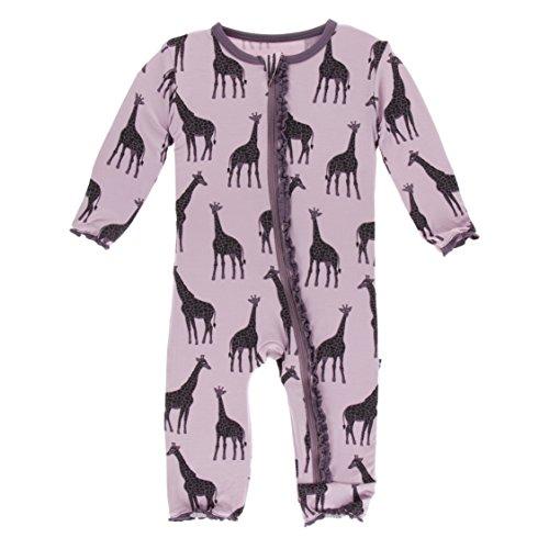 (Kickee Pants Little Girls Print Muffin Ruffle Coverall with Zipper - Sweet Pea Giraffe, 6-9 Months)