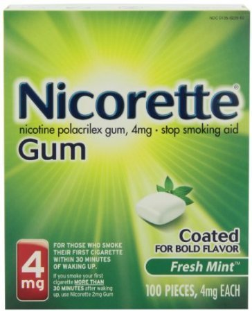 Nicorette Coated Gum 4mg, 100 pieces (Fresh Mint) by Nicorette