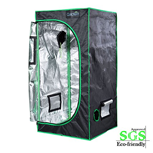 """51dGecWOP0L - Quictent SGS Approved Eco-friendly 24""""x24""""x48"""" Reflective Mylar Hydroponic Grow Tent with Obeservation Window and waterproof Floor Tray for Indoor Plant Growing 2'x2'"""