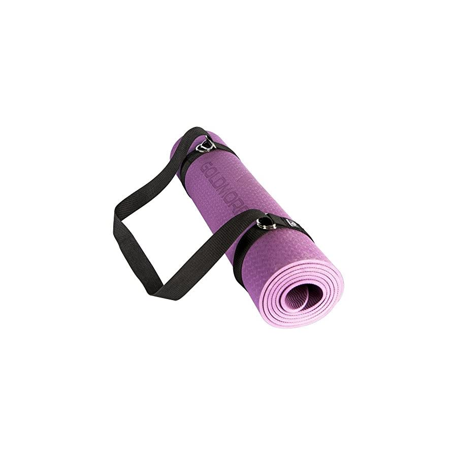 """Goldmore Yoga Mat with Strap Non Slip,Eco Friendly SGS Certified TPE Exercise Mat for Pilates,Hot Yoga,Core Exercises,Fitness Interval Training High Density Thick 1/4"""" Durable Mat 72""""24"""""""