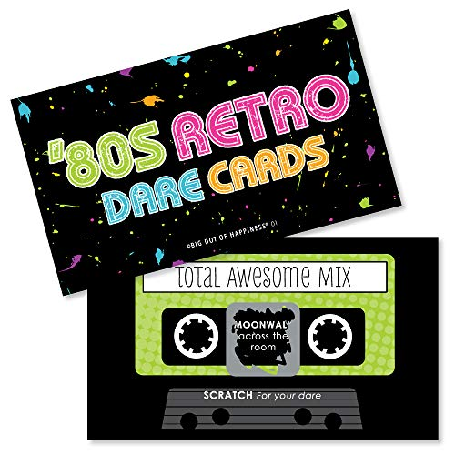 Big Dot of Happiness 80's Retro - Totally 1980s Party Game Scratch Off Dare Cards - 22 Count -