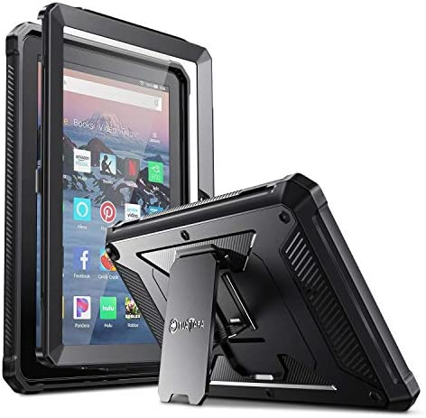 Fintie Shockproof Case for All-New Fire HD 8 and Fire HD 8 Plus Tablet (tenth Gen, 2020 Release), Rugged Unibody Hybrid Full Protective Bumper Kickstand Cover with Built-in Screen Protector, Black