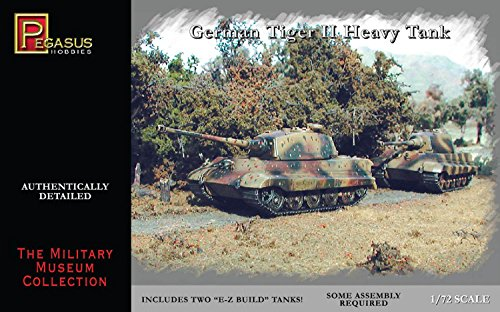 Large Scale Model Tanks - Pegasus 7627 WWII German Tiger II Tank Set of 2 1/72 Scale Plastic Model Kits