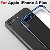 For Apple iPhone 8 Plus cases {MobiTussion} Original 100% 360 Degree Camera Protection Soft Electroplating TPU ultra thin Silicon Transparent Blue Plating cover case for Apple iPhone 8 Plus