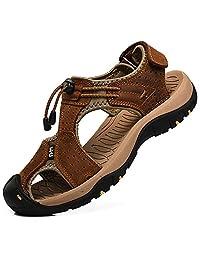 Rismart Men's Closed Toe Walking Fastening Trekking Sport Shoes Leather Sandals