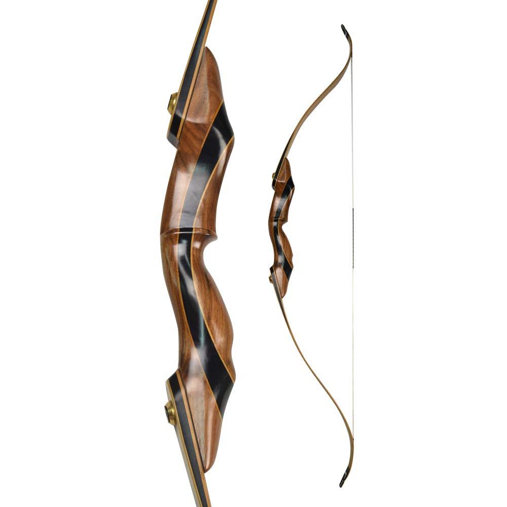ZSHJG 58 Takedown Arc Classique Arc de Traditionnel de tir /à larc Arc 25-40 LBS Riser en Bois Arc Long pour la Main Droite Chasse Adulte et D/ébutant Tir /à la Cible