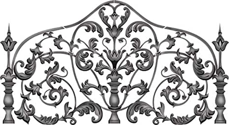 Amazon Com Queen Iron Headboard Wall Stencil Sku 2590 By Designer