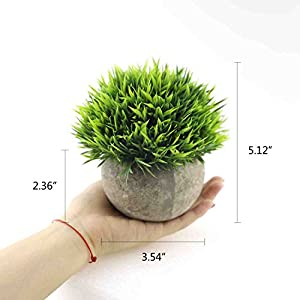 CEWOR 4 Pack Artificial Mini Plants Plastic Mini Plants Topiary Shrubs Fake Plants for Bathroom,House Decorations 2
